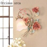 Korean garden flower wall lamp balcony bedroom rose iron wall lamp free shipping