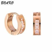 BOAKO Small Hoop Earrings For Women Rose Gold Huggies Earrings Simple Boho Ladies Girls Fashion Jewelry 5A Inlay Zircon Bijoux