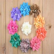 Flor de satén de 3 pulgadas con centro de perlas accesorios para el cabello flores de tela satinada para DIY 10 colores a elegir en epacket gratis