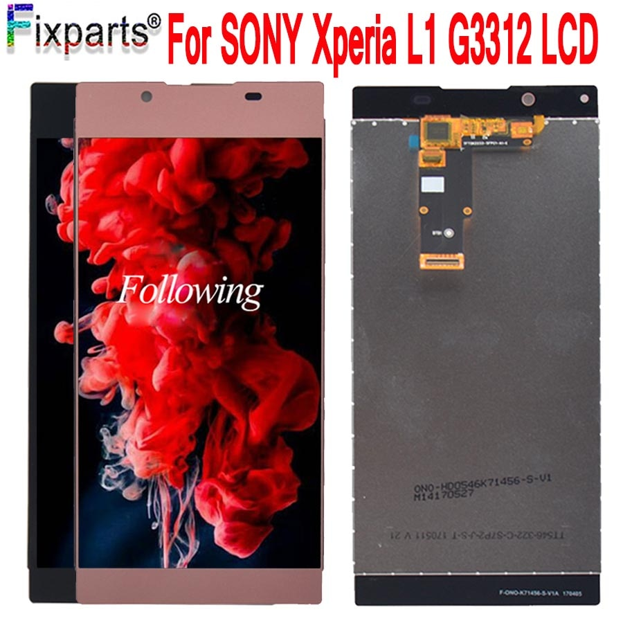 Pantalla táctil LCD de 5,5 pulgadas para SONY Xperia L1 G3312 piezas de repuesto digitalizador Asamblea para SONY Xperia L1 LCD envío gratis