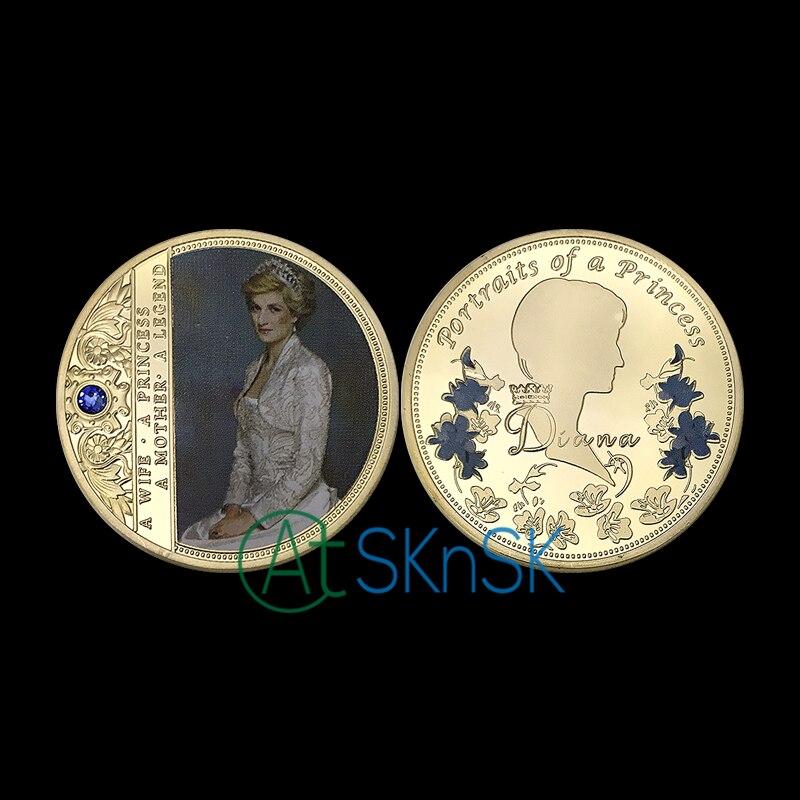 1-10pcs new souvenir England a portrait of princess gold medal with blue diamond Diana Spencer Princess commemorative coins gift