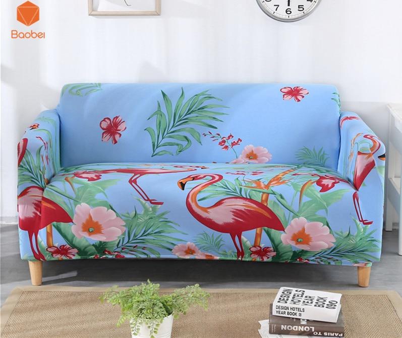 Fundas de sofá con flamenco, envolvente, envolvente, antideslizante, funda de sofá elástica, toalla individual/dos/tres/cuatro plazas 43