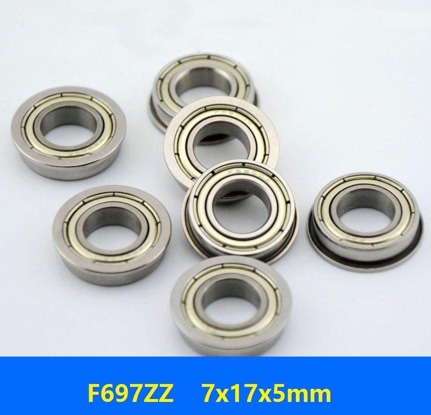 500 unids/lote doble blindaje F697ZZ F697Z F697-ZZ F697 Z ZZ 7x17x5mm rodamiento de bolas de brida en miniatura con ranura profunda 7*17*5mm