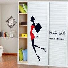 Décoration de dessin animé mode avec robe rouge   Autocollant mural pour décoration de maison, jolie décoration de magasin de vêtements pour femmes et filles