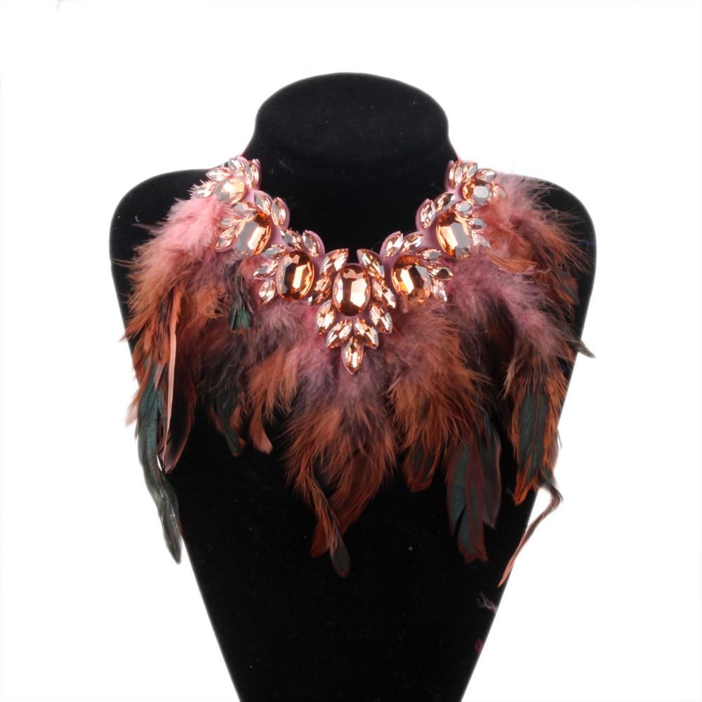 Женское ожерелье с подвеской ZMZY, массивное ожерелье с кристаллами в виде перьев
