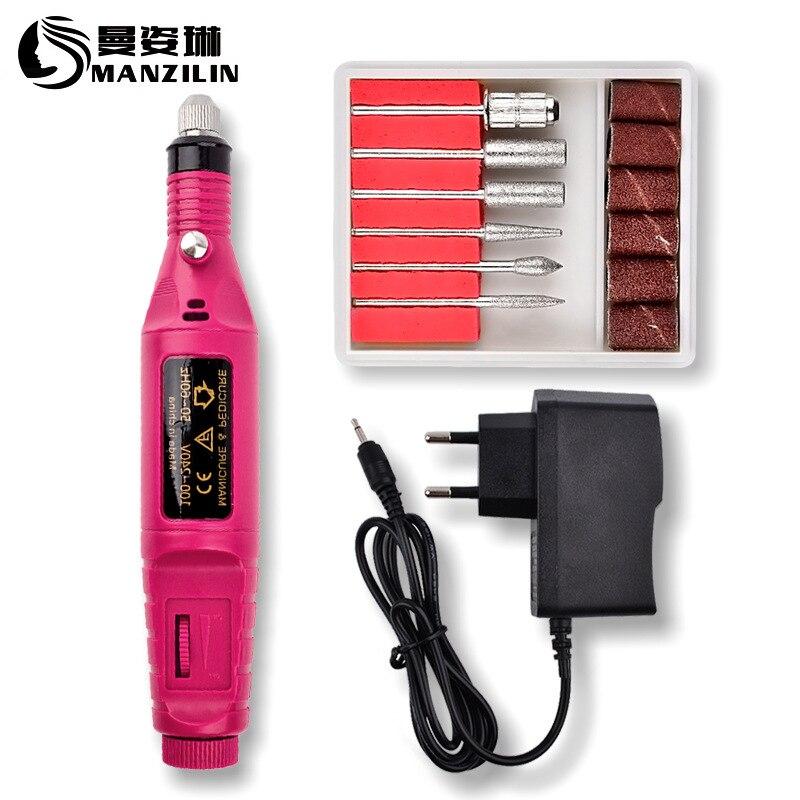 1Set Professional Electric Nail Kit Nail Tips Manicure Machine Electric Nail Art Pen Pedicure 6 Bits Nail Art Tools Kit