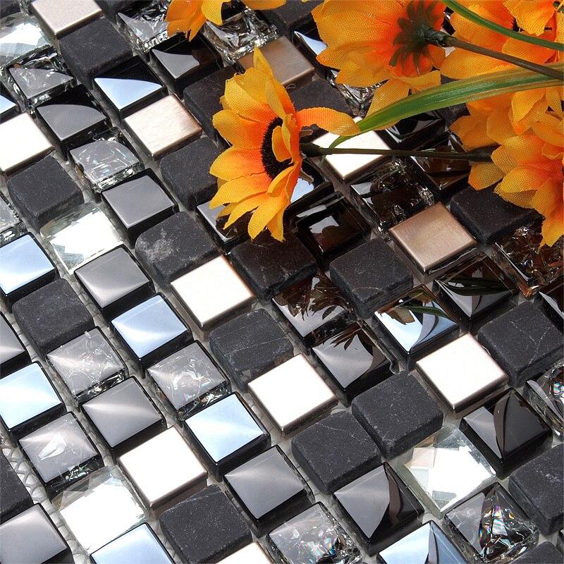 Mosaico cuadrado de piedra de mármol mezclado de cristal negro EHM1046 para cocina cubierta de pared de azulejos de mosaico para Baño