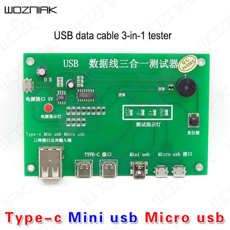 Línea de datos USB Wozniak, placa de comprobador 3 en 1 tpye-c, Mini teléfono Micro USB, pantalla LED, línea de prueba de cargador de protección inteligente
