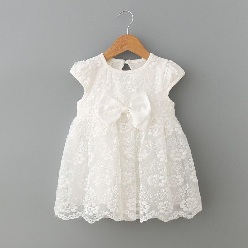 Одежда для младенцев новое летнее платье для маленьких девочек белые кружевные вечерние платья для первого дня рождения, 1 год платье принцессы для новорожденных