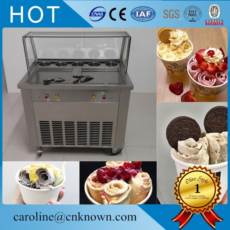 Double Casseroles Frit Machine À Crème Glacée de Petit Pain De Crème Glacée Faisant La Machine avec Salade Fruits Etabli 5 pièces Réservoirs De Refroidissement