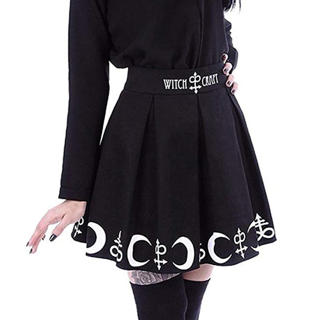 Женская плиссированная мини-юбка в готическом стиле, готический панк, волшебная луна, Магическая символика, faldas mujer moda, лето 2019