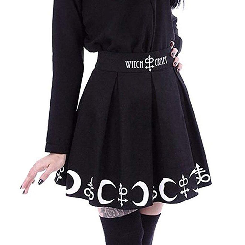 Moda verão saias das mulheres gótico punk bruxaria lua magia feitiço símbolos plissado mini saia mini faldas mujer moda 2019