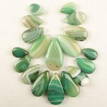 2Set(9Pcs/Set) Green Stripes Onyx Agates Teardrop Pendant Bead (big:37x20x6mm small:17x12x5mm)Free Shipping Dw021