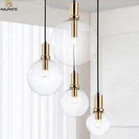 Modern LED black gold pendant lights kitchen dining room glass hanging pendant lamp LED restaurant home deco lighting fixtures