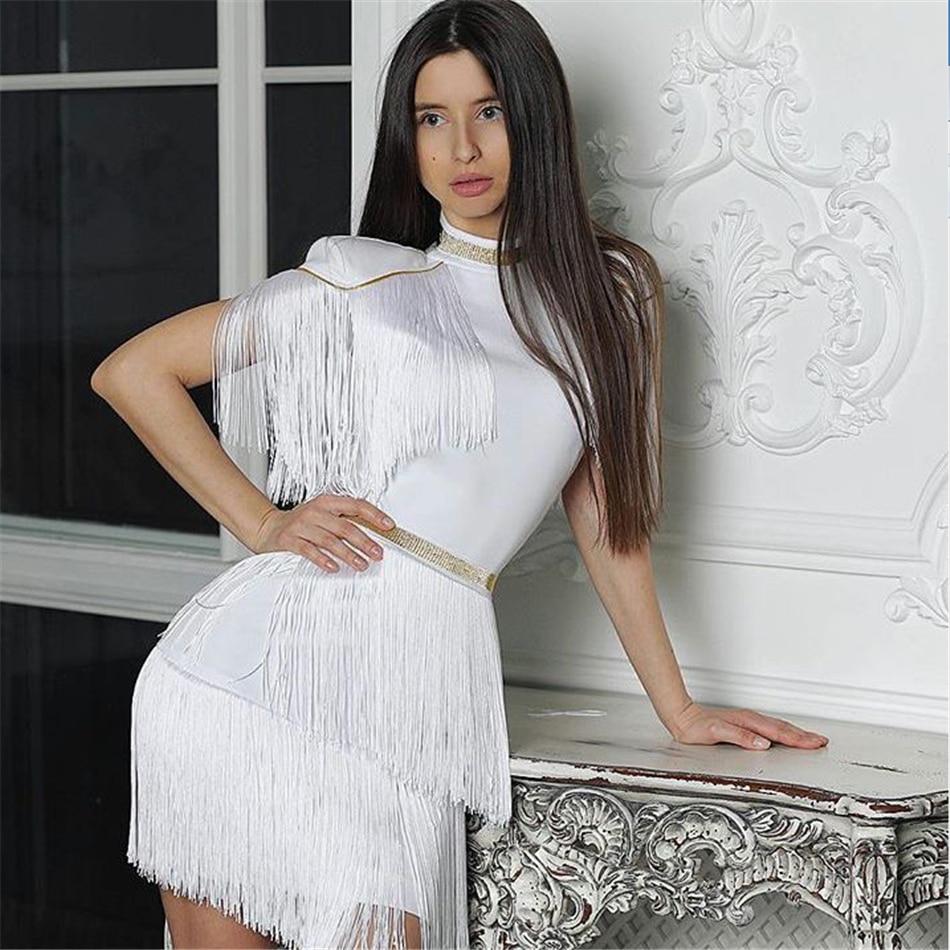 2021 النساء جديد الصيف ضمادة اللباس شرابة الإناث مثير النادي مساء حزب فساتين المشاهير فوق الركبة قصيرة الأكمام الملابس
