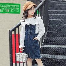 Ensemble automne 2018 manches longues   Blouses blanches + salopette, ensemble jupe, 2 pièces, vêtements de Boutique pour filles de 8-10-12 ans
