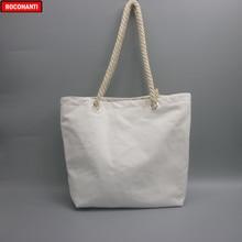 10x Blanc Naturel Coton Toile Fourre-Tout sacs avec fermeture éclair Poignée De Corde pour Lépicerie, Plage, Impression de logo Personnalisé