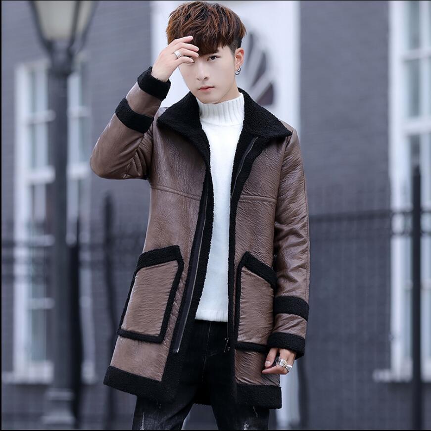 M-3xl جديد الشتاء شخصية الفراء قطعة واحدة طويلة التلبيب بو الجلود سترة الرجال الكورية الشباب العصرية سترة واقية سترة الأزياء معاطف