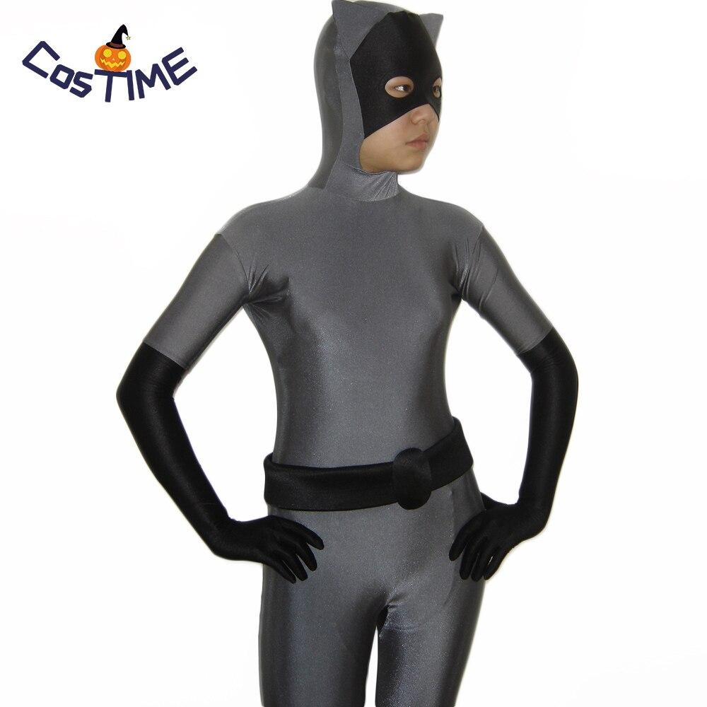 Сексуальная Женщина-Кошка Косплей Костюм серый и черный Zentai полный боди костюм Бэтмен Хэллоуин лайкра спандекс боди на заказ