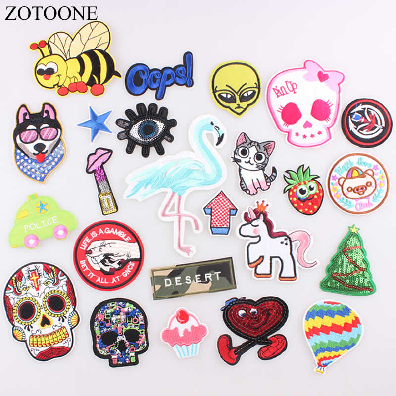 ZOTOONE 1PCs Cat Skull Eyebrows Flamingo Strawberry Patch Embroidered Iron on Patch for Clothing DIY Stripes Stickers Badges B