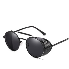 Retro Round Metal Frame Sunglasses Steampunk Men Punk Women  Luxury Brand Designer Glasses Oculos De