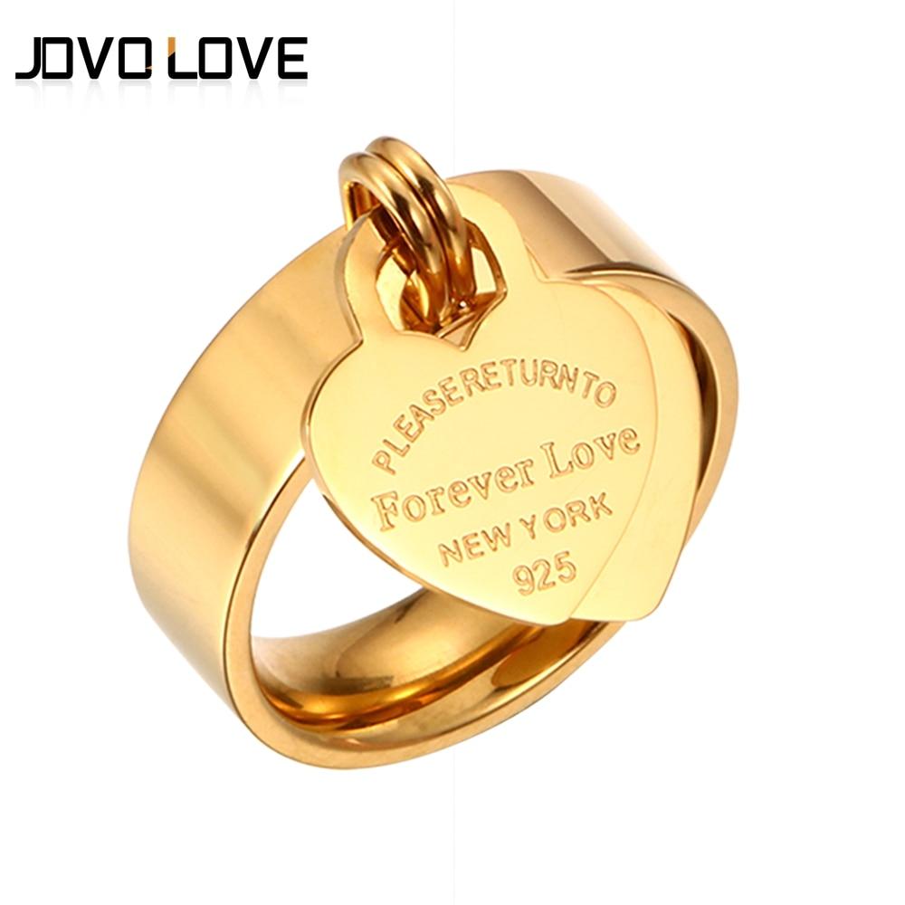 MSX Forever anillos de boda de amor grabado gran corazón etiqueta Acero inoxidable encanto anillo Rosa oro Color dorado y plateado amor anillo para las mujeres
