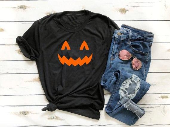 Camiseta de algodón con cuello redondo para mujer, ropa de Halloween con...