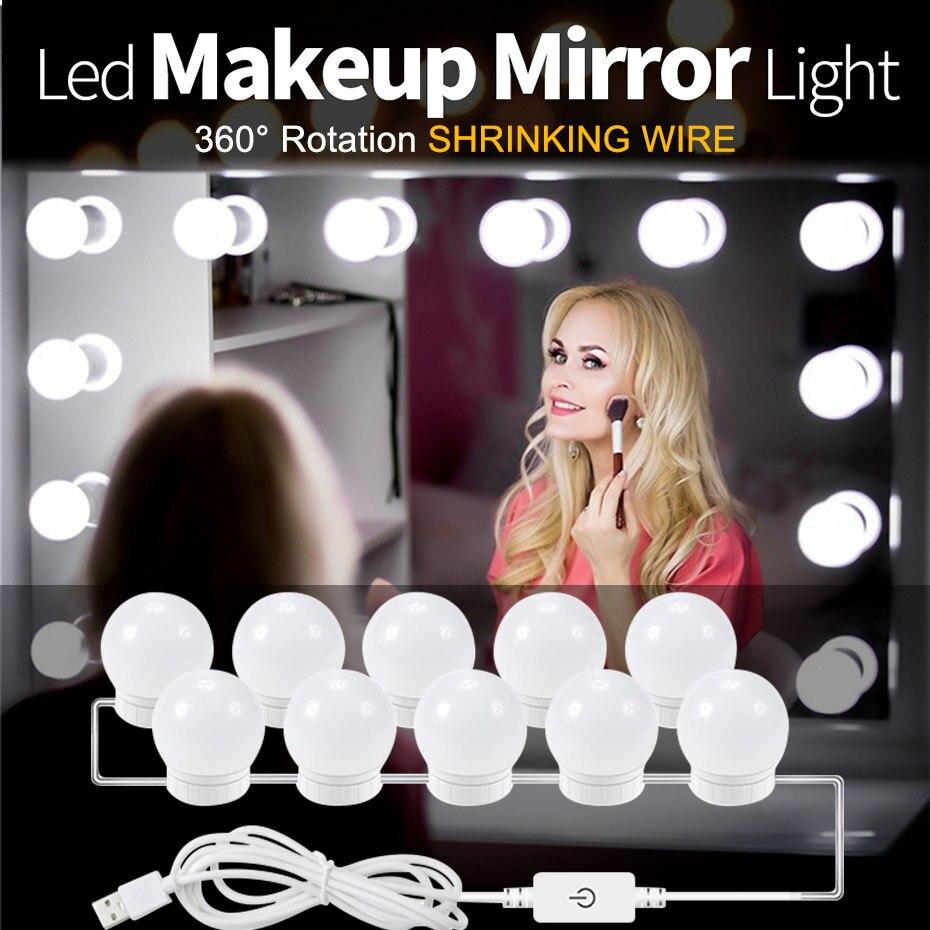 Lâmpadas led de maquiagem com espelho de maquiagem, equipamento de iluminação para cosméticos, 2/6/10/14 luzes ajustáveis de brilho