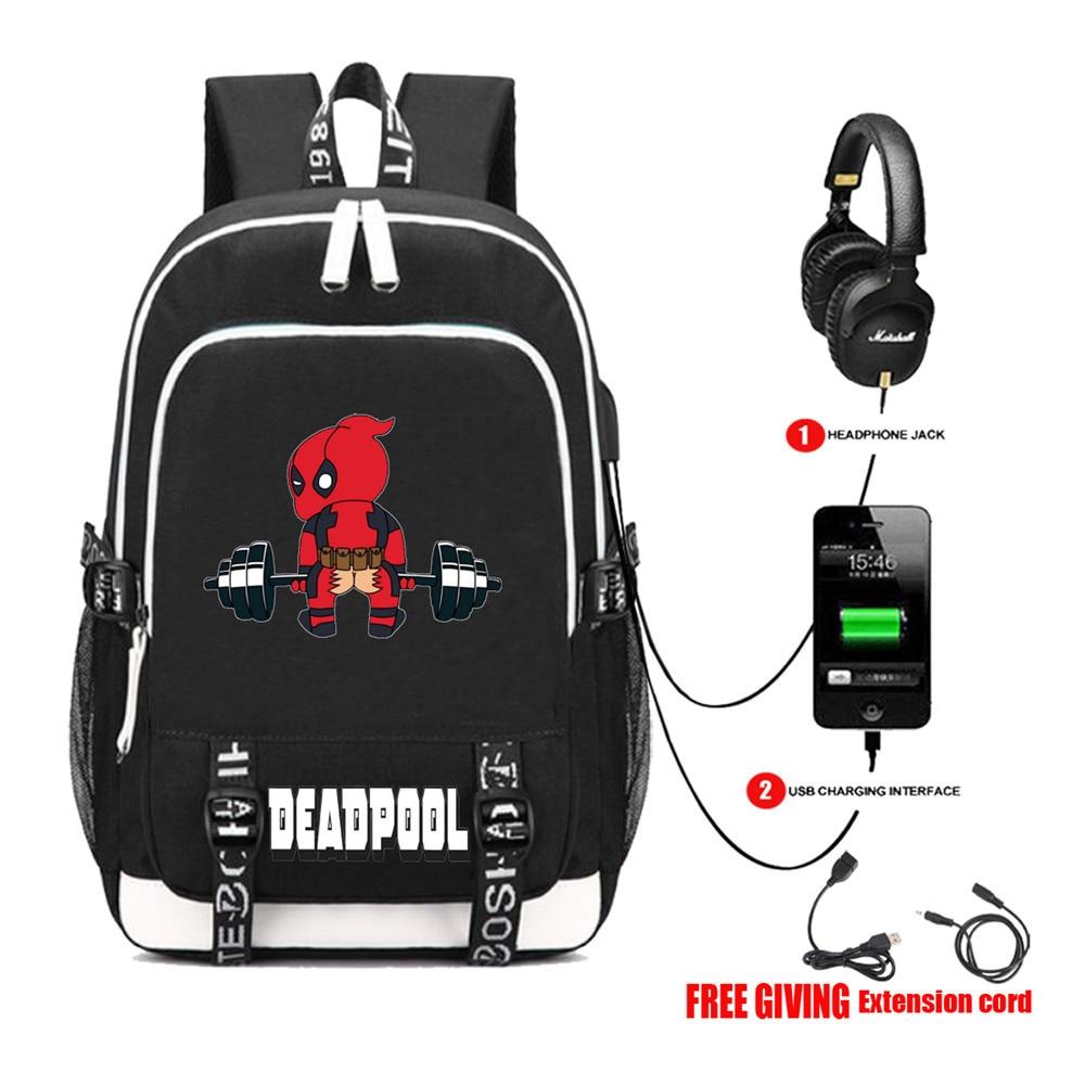 Mochila de viaje multifunción con carga USB, mochila de superhéroes Deadpool, mochila escolar para adolescentes y estudiantes, 13 estilos