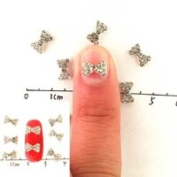 10pcs nail diamond cute bowknot nail art rhinestones alloy silverdecorations bow nail supplies gel crystal manicure jewelry diy