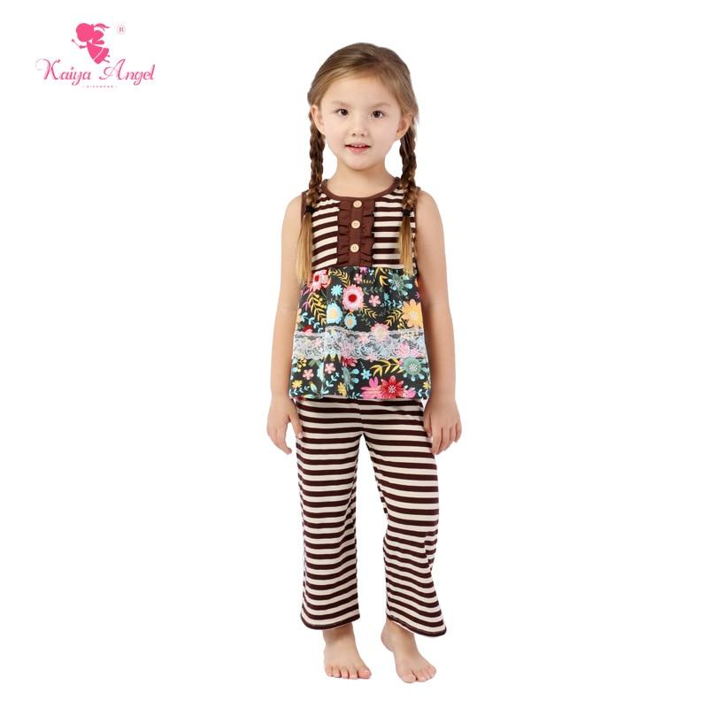 Kaiya Engel Kleinkind Kinder Anzug für Mädchen Baby Kinder Kräuseln Kleidung Kleinkind Mädchen Kaffee Baumwolle Blume spitze Outfit großhandel
