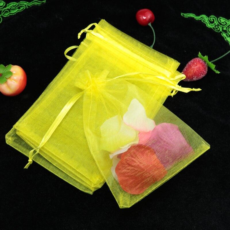 شحن مجاني 500 قطعة/الوحدة Drawable الأصفر الأورجانزا حقيبة 9x12 سنتيمتر الزفاف الديكور الحلوى هدية حقيبة صالح تغليف المجوهرات أكياس