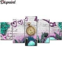 Dispaint     peinture diamant 5D avec perceuse carree ou ronde  bricolage   maison douce   combinaison multi-images  broderie 5D  cadeau  5 pieces