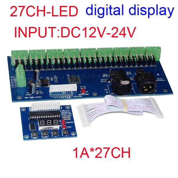 27 canais DMX512 RGB controlador tem display Digital 9 grupos RGB 27CH DMX512 decoder DC12-24V de entrada