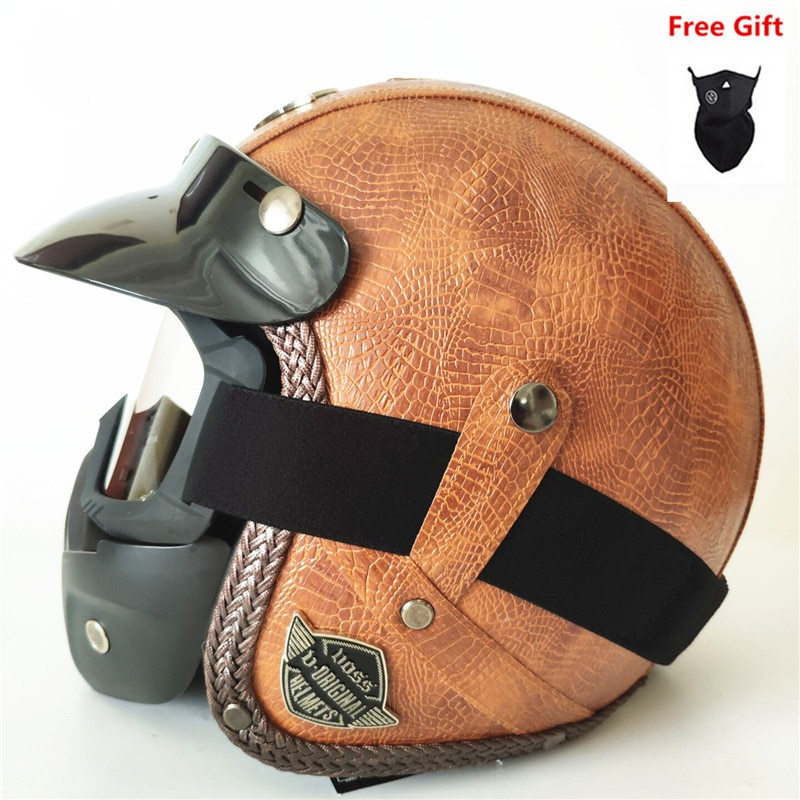 HOT SELL PU Leather Helmets 3/4 Motorcycle Chopper Bike helmet open face vintage motorcycle helmet with goggle mask new german motorcycle wwii style half helmet chopper biker pilot goggles open face moto motocicleta with free goggle and mask