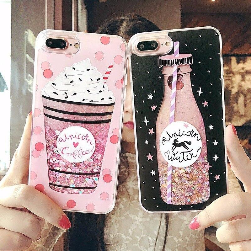 Funda de arena movediza líquida ostentosa a la moda para iPhone 6 6s 7 8 Plus X, carcasa de lujo con diseño de botella para chicas con purpurina dinámica para teléfono