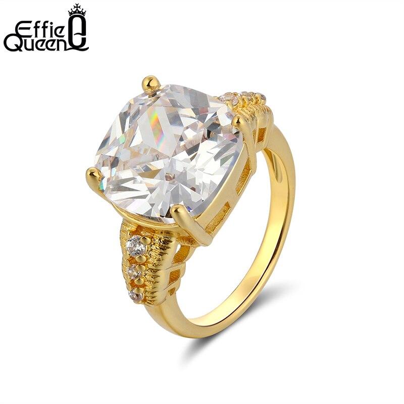 Anillo de circón de corte de cojín de lujo Effie Queen para la propuesta Color plata mujeres grandes anillos de dedo de moda boda joyería DR100