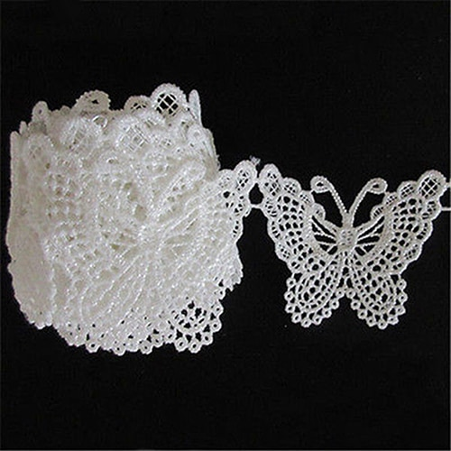 1m Vintage White Butterfly Lace Edge Trim Embroidery Applique for Sewing Cloth Craft Garment Accessories Supplies Scrapbooking