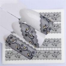 Fwc 1 Pc Wit Zwart Nail Stickers Water Transfer Decals Kant Bloemen Vlinder Slider Voor Nail Art Decoratie Manicure