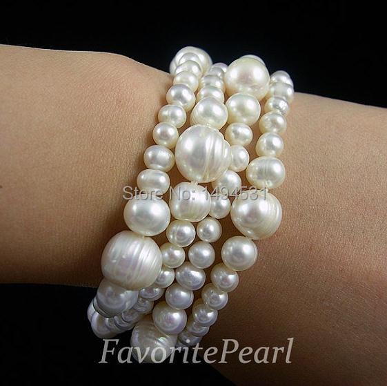 Joyería de perlas de boda-cuatro filas 5,0-11,5mm 7,5 pulgadas Color blanco pulsera de perlas de agua dulce Natural-Envío Gratis