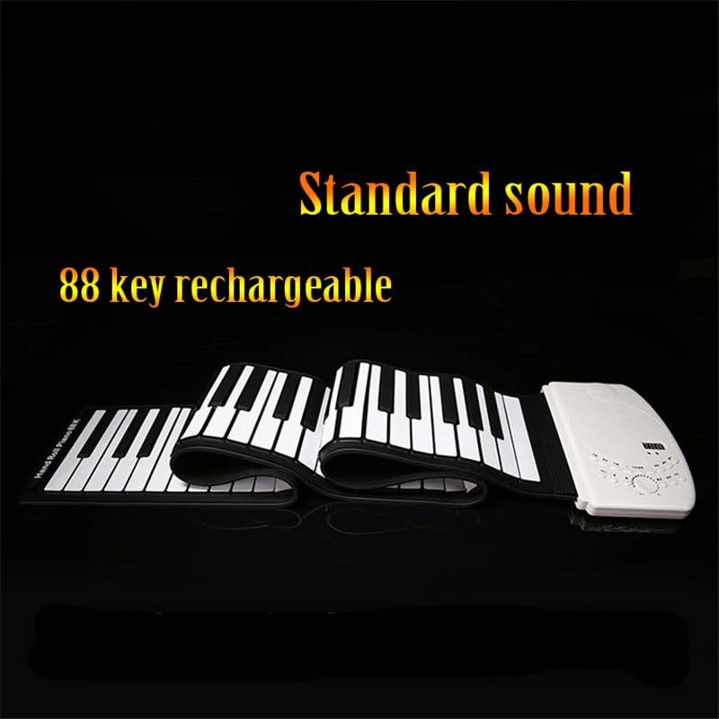 SOACH جديد المحمولة 88 مفاتيح مرنة نشمر البيانو USB جهاز إلكتروني لوحة المفاتيح اليد لفة البيانو قابلة للشحن القياسية الصوت