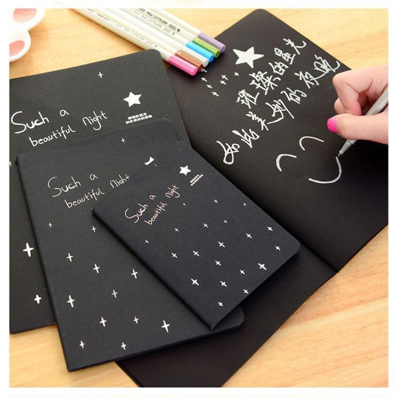 Kawaii Cute agenda papel negro Bloc de notas boceto Graffiti cuaderno para dibujar pintura Oficina escuela papelería regalos