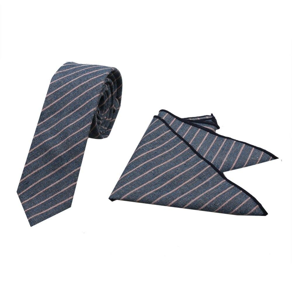 HOOYI Cotton Stripe Slim Ties Sets Pocket square Mens Skinny Tie Handkerchiefs Men cotton Winter Fashion Accessories