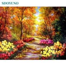 SDOYUNO-cadre peinture de paysage automne   Peinture principale par numéros, peinture acrylique sur toile, peinture murale moderne, calligraphie de 40x50cm