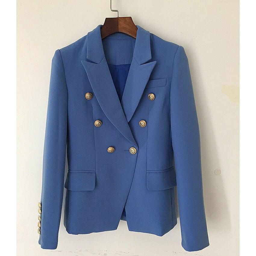 HIGH STREET nueva moda 2020 chaqueta de diseñador chaqueta de mujer Metal botones de León doble botonadura Blazer exterior lago azul