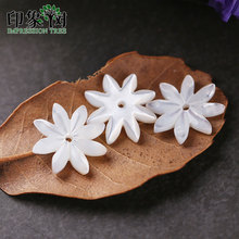 5 stücke 10mm Pure White Natürlichen Muschel Blume Perlen Polieren Shell Acht Blätter Charms Halskette Ohrring DIY Schmuck Machen 19048