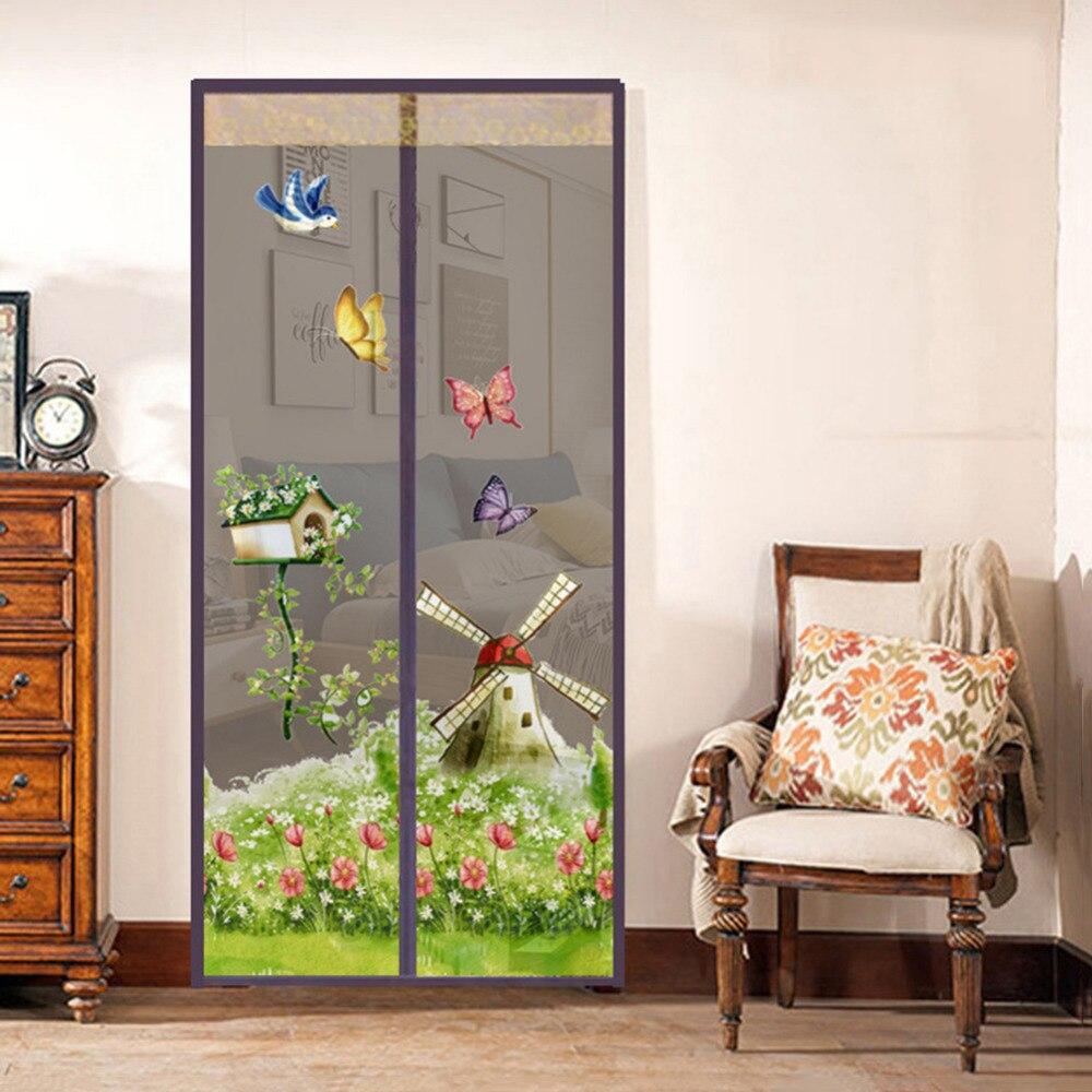 Магнитная мягкая дверная прочная сетка для защиты от комаров и насекомых летняя сетчатая сетка 90x210 см