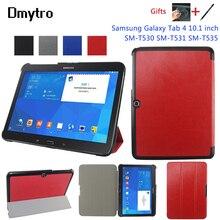 Tablette étui socle pour Samsung Galaxy Tab 4 10.1 pouces SM-T530 T531 T535 Ultra mince pu cuir support protecteur étui stylo + film