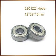 4 unids/lote Escudo de metal 6201ZZ bola de acero de 12x32x10mm 6201-2Z teniendo 12mm 12*32*10mm 6201Z rodamiento rígido de bolas
