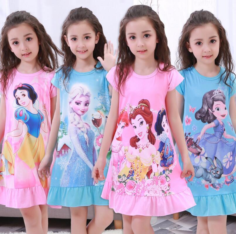 2018 microfibra niños de dibujos animados de manga corta camisones niñas ropa de dormir patrón de verano encantadora princesa vestido de viento 2T-12T ER06